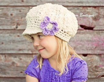 Crochet Slouchy Hat, Toddler Girl Hat, Newsboy Hat for Girls, Slouch Beanie, Ivory, Violet, Cotton, 12 Months to 4T