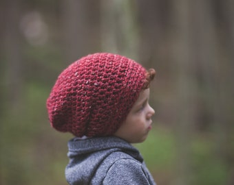 Crochet Slouch Hat in Red Merino - Slouchy Hat for Kids, Slouch Beanie, Girl's Slouch Hat, Boy's Slouch Hat, 12 Months - 4T (Morgan)