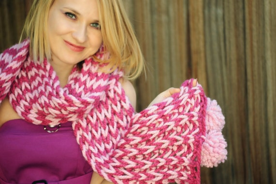 Pink Multicolored Scarf - Pink Long & Chunky Striped Hand Knitted Scarf with Pompoms, Ready to ship