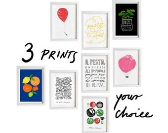 "Your Choice Print Set of 3 - 3 x  8.3"" x 11.7"" - Set of 3 prints - Food art - fine art giclee prints"
