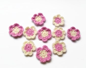 croched flower set of ten pink  and white