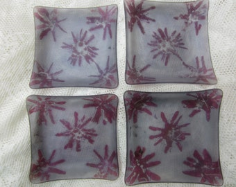 Four Vintage Purple and Red Israeli Glass Dishes