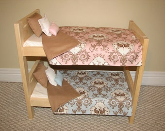 "15"" Twins Bedding -  Doll Bunk Bed Bedding Set - Pink and Blue - Boy and Girl Bedding - BEDDING ONLY"