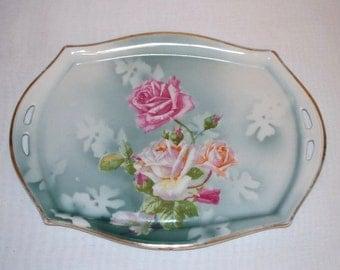 Carl Tielsch German Porcelain Vanity Dresser Tray - Roses  (1316-1)