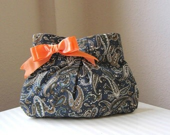 Pleated Clutch purse Blue Paisley Cotton Bridal Bridesmaids Bow Gift