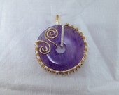 Wire wrapped Amethyst donut; copper wire, silver plated wire, brass wire, pendant, jewelry