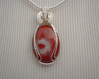 Red Jasper Wirewrap Station Necklace