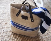 Cute French Linen Bag - Beach Bag - blue stripes-Leather handles- Unique. Handmade. Sand - blue stripes