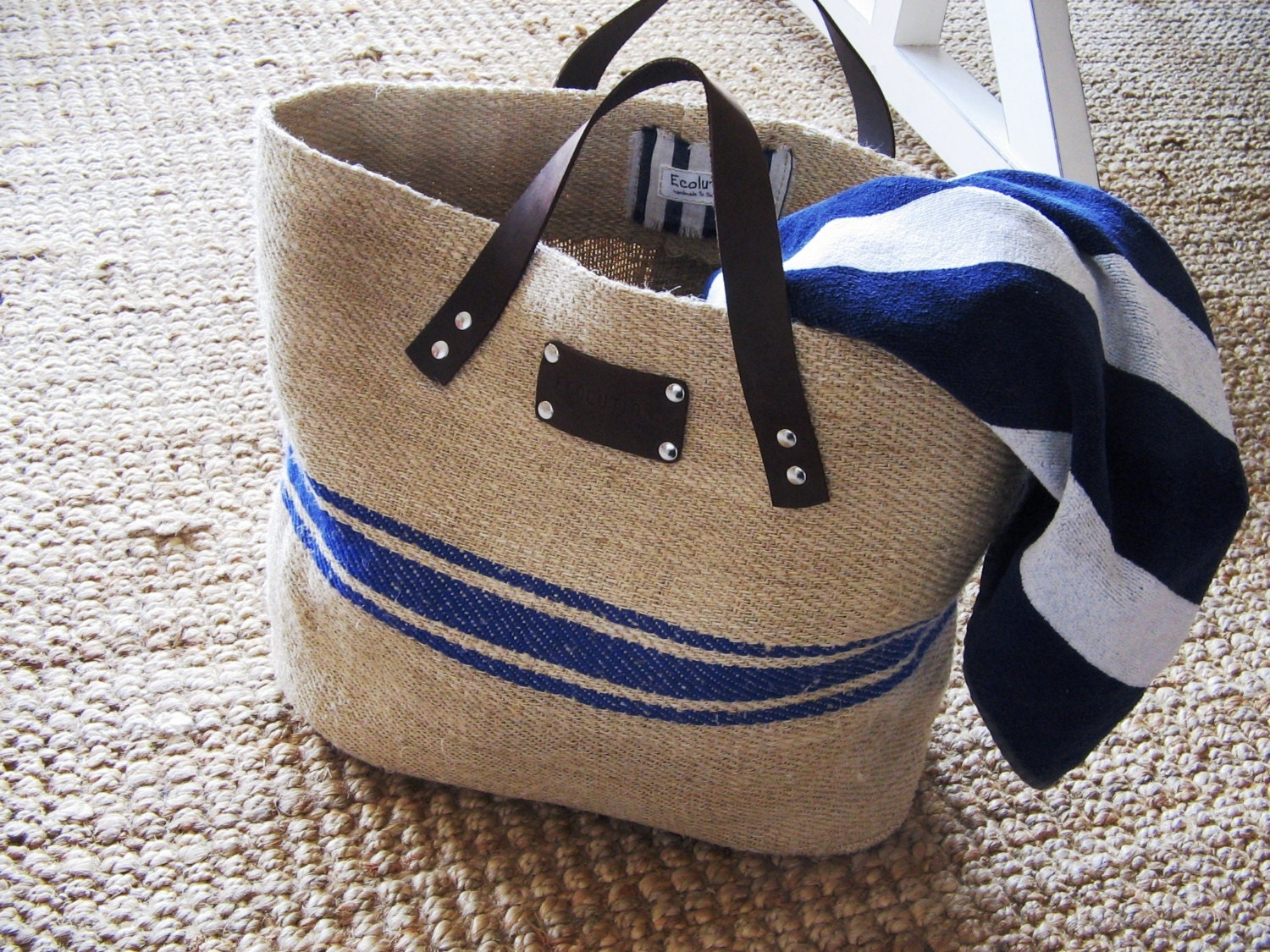 Cute French Linen Bag Beach Bag blue stripes-Leather