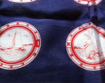 Vintage Red, White & Blue Nautical Scarf Sailboat Stripes