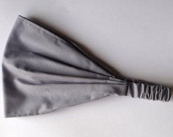 Yoga Headband - Solid Medium Grey Kona Cotton fabric by Robert Kaufman.