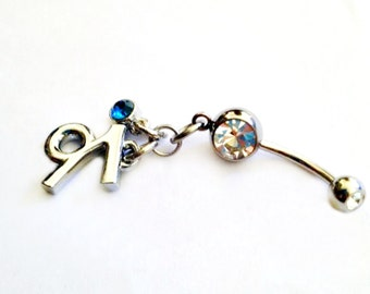 Belly Ring -  Customize w/Birthstone & Zodiac Symbol