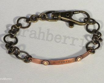 "Bracelet: ""Shiny"" Brass and Copper Bracelet, by sarahberries 130004FB"