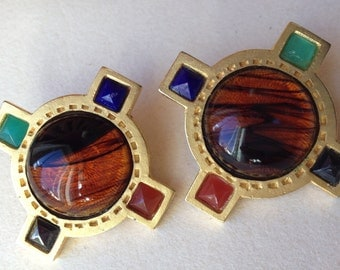 YOSCA Designer Signed Huge Cabochon Clip Earrings – 1980s Jewelry