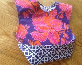 Snappy Pocket Bib Jennifer Paganelli Honey Child laminate fabric waterproof and wipeable, purple, pink, periwinkle, orange flowers