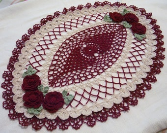 crocheted oval doily burgundy ecru natural handmade home decor