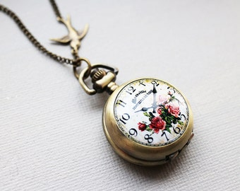 Victorian Rose small Pocket Watch with gold tone initial necklace. long necklace. personalized jewelry. vintage style. perfect gift for her