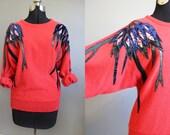 Dolman Sweater Vintage Red Southwestern 80s Medium