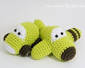 Crochet toy baby rattles amigurumi airplane and car set - organic cotton - pistachio and chocolate brown