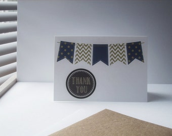 Banner Thank You Notes - Navy Blue Gold Bunting Thank You Card Set, Chalkboard Style Circles, Gold Chevron Stripes, Polka Dot Flags, Party
