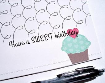 Sweet Birthday Card - Have a Sweet Birthday, Cupcake Greeting Card, Festive Grey Swirls, Bright Teal Green Pink Purple, Happy Birthday Card