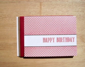 Modern Birthday Card - Muted Red Mini Polka Dots, Contemporary Happy Birthday Card, Neutral Modern Invitations, Distressed Red Beige White