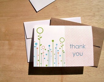 Modern Thank You Cards - Spring Summer Fall Flowers, Orange Polka Dots, Botanical Note Card Set, Bright Thank You Notes, Orange Green Blue