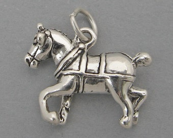 Sterling Silver 925 Charm Pendant 3D CLYDESDALE Draft Horse Budweiser SC165