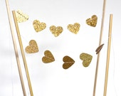 Gold or Silver Heart Cake Topper, glitter mini bunting dessert topper, other colors available