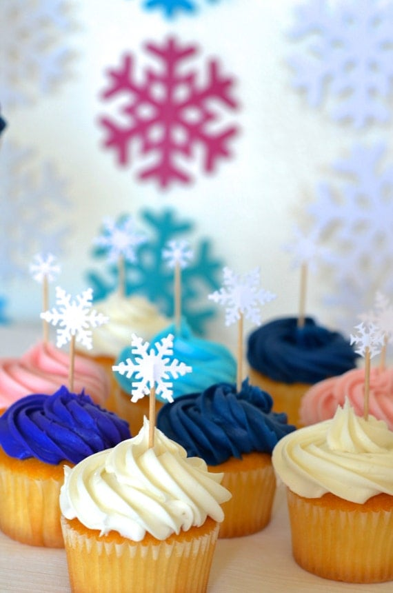 Snowflake cupcake toppers, 12 icy white picks in multiple sizes