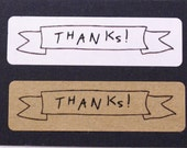 80 THANKS! in ribbon banner outline Rectangle Kraft brown or white Kraft Sticker Labels Seals 1/2 x 1 3/4 inch