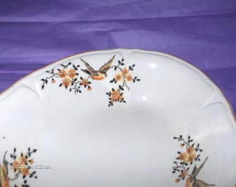 Vintage Oval Ceramic Bird and Floral Decor Bowl - Lovely
