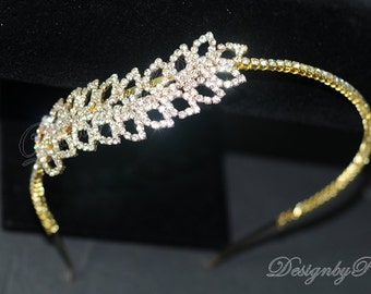 NEW Handmade Bridal Accessories Wedding Hair Accessories Bridal Rhinestone Gold Tone Headband