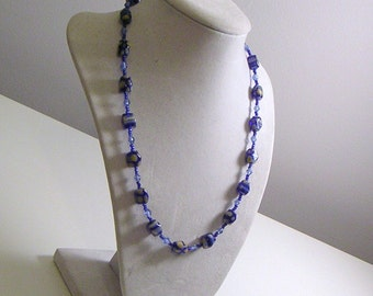 Royal Blue and Yellow Dainty Beaded Necklace