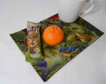 Mini Placemats, Snack Mats, Birds and Fruit Placemats Set of Two