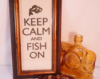 Keep Calm and Fish On, Deep Green Embroidered Canvas Wall Art, Fishing Decor