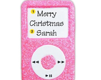 Personalized Christmas Ornaments- Hot Pink  MP3 Player Ipod- - Great gift for kids, friends.
