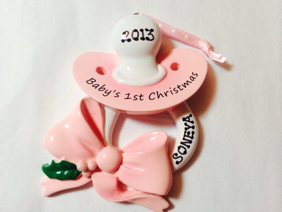 Christmas Ornaments For Baby Shower Favors : Personalized christmas pacifier ornament baby s st