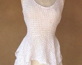 Vintage 80s - Lacy sheer cotton knit with tennis skirt