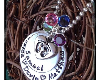 Personalized Jewelry - Hand Stamped Necklace - Baby Footprint Necklace -Swarovski Birthstones