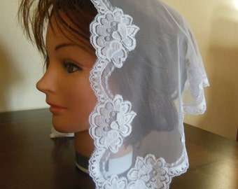 Georges  Snow White Soft Floral Net Lace  Mass/Church Mantilla Scarf Veil - comes in 4 sizes -