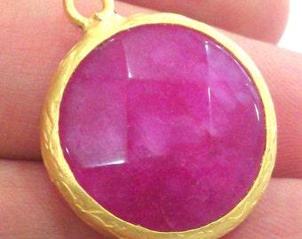 20mm Pink Pendants , Gold Plated Bezel G1370