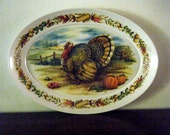 Turkey Platter, Large Oval, Melmac with Wonderful Fall Autumn Colors, Thanksgiving Wall Art Decor, Thanksgiving Serving
