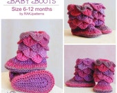 Crochet PATTERN Crocodile Stitch Baby Boots (size 6-12months) INSTANT download