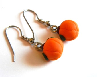 Halloween Fall Jewelry- Pumpkin Dangle Earrings on Surgical Steel Earwires - Handmade - Gifts Under 15, 20