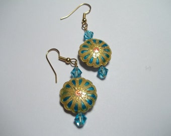 Turquoise Crystal and Cloisonne Medallion Earrings