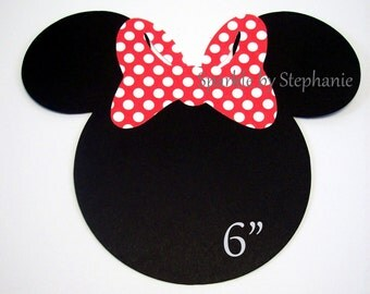 """Minnie Mouse Head Die Cuts with Bow of your choice - Set of 12+ - 6"""""""