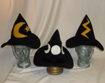 Black Wool Witch Hat- Choose Your Pattern