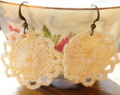 75% of this item, enter LOVE2016 at checkout.  Cream Crocheted Bohemian Earrings, Lace Flower, Lace Earring