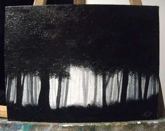 Black and White Trees, Night, Landscape Oil Painting
